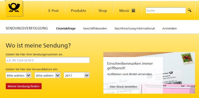 Deutsche Post Sendungsverfolgung Tracking Paket1ade